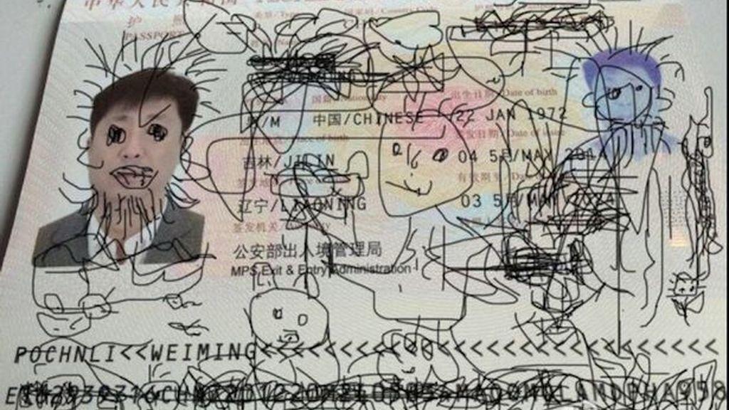 pasaporte, hombre chino, Corea del Sur,