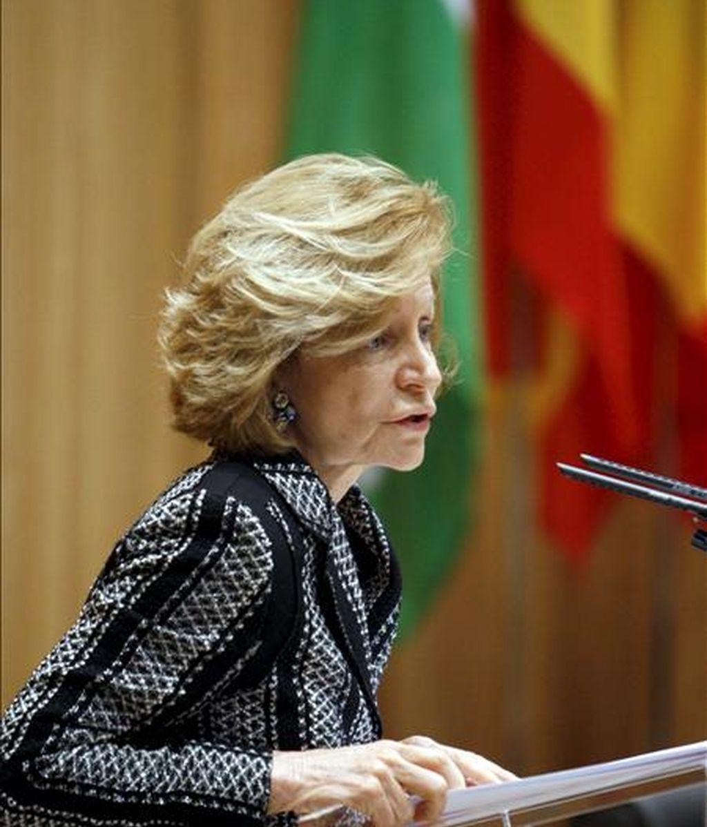 La vicepresidenta económica, Elena Salgado, durante su intervención en la reunión de presidentes de las Comisiones de Economía y Finanzas de los Parlamentos de los países de la UE que se celebra en Madrid. EFE