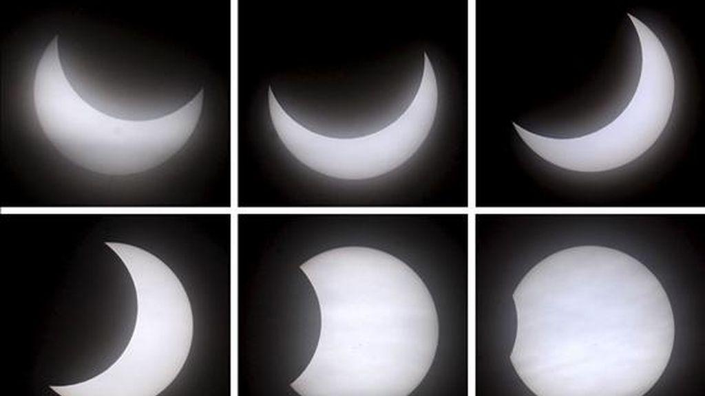 Combo fotográfico que muestra las distintas fases de un eclipse solar parcial que se ha producido hoy a primera hora de esta mañana en Garmisch-Partenkirchen (Alemania). El fenómeno se ha podido apreciar en toda Europa, el norte de África y parte de Asia central. EFE