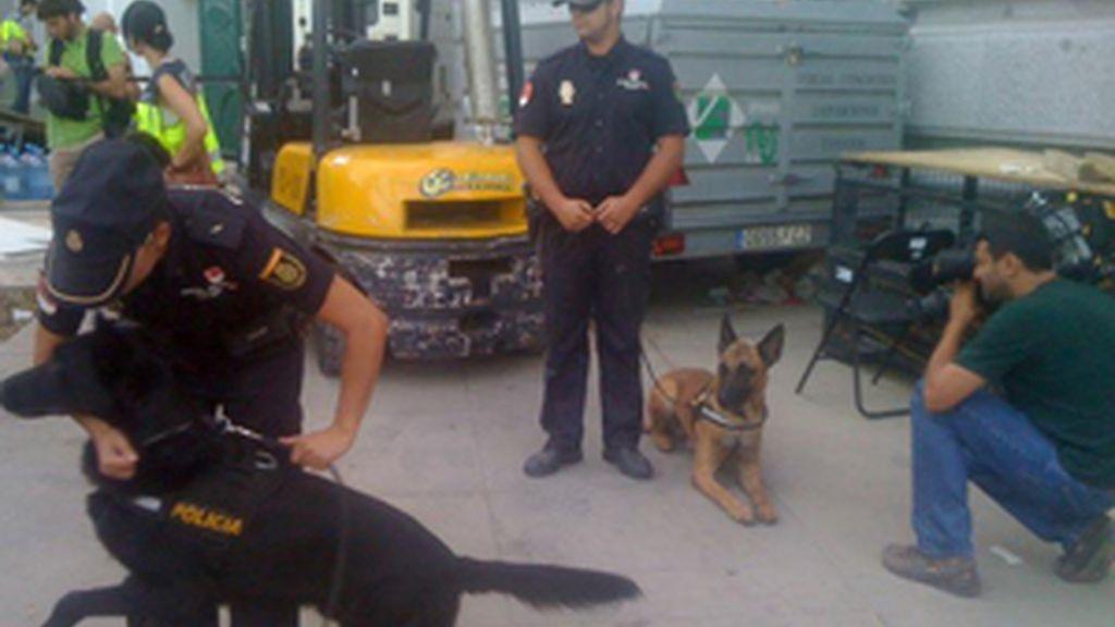 La policía prepara a los perros para la visita del Papa. Foto: Antonio Gil/Informativos Telecinco