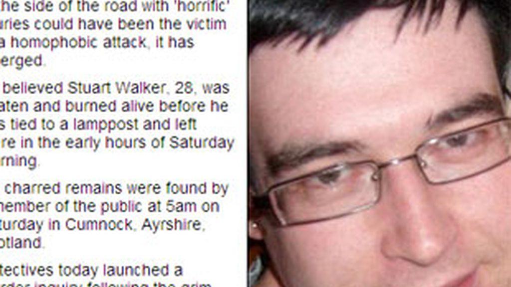 Stuart Walker, de 28 años, fue golpeado y quemado vivo en Escocia. Foto: Daily Mail.