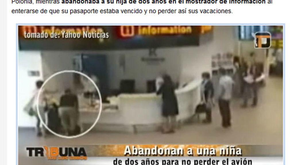Abandonan a su hija de dos años para no perder el avión