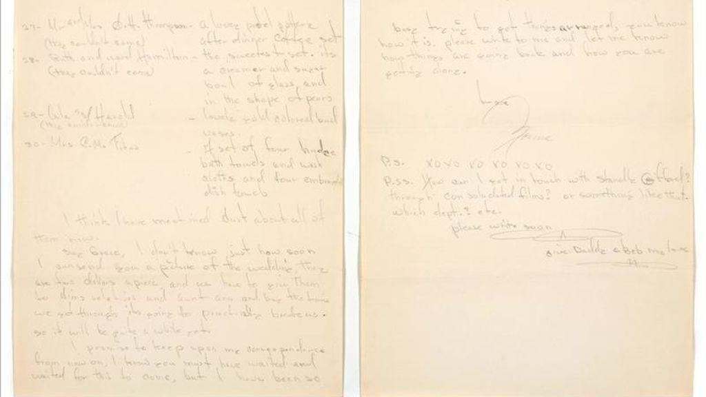 Imagen cedida este 20 de abril de una carta de Marilyn Monroe a los 16 años (firmada como Norma Jeane, su nombre real) en la que describe su boda con Jim Dougherty, uno de los 600 objetos del Hollywood dorado que hoy subasta la casa Bonhams and Butterfields. EFE