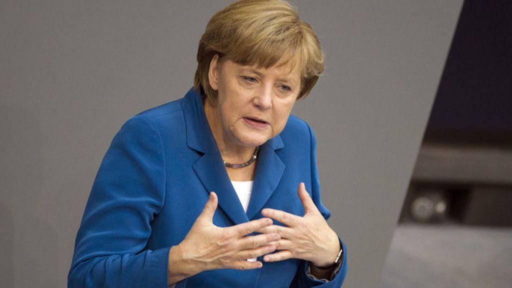 La canciller alemana, Angela Merkel, durante su comparecencia en el Bundestag