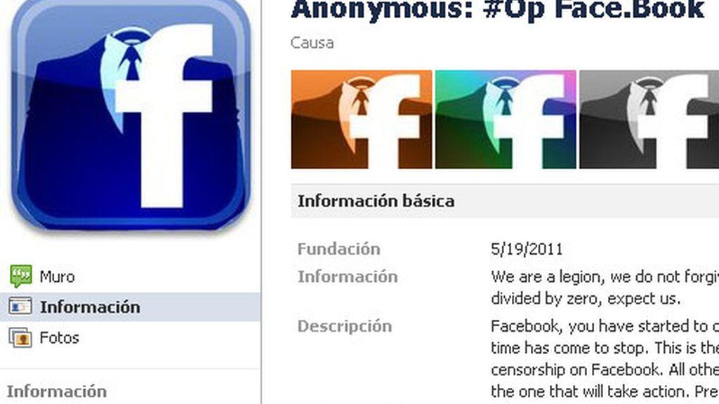 Anonymous ha creado una cuenta en Facebook anunciando el ataque