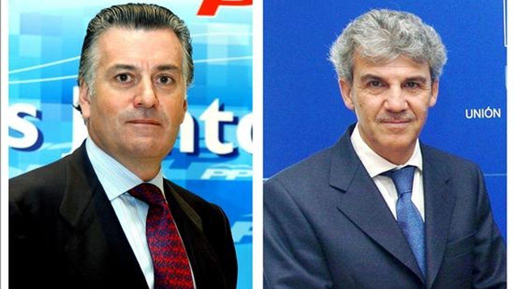 El tesorero del PP, Luis Bárcenas, y el eurodiputado Gerardo Galeote, que hoy se han entrevistado con el líder del partido, Mariano Rajoy. EFE/Archivo