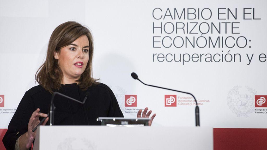 Conferencia de Soraya Sáenz de Santamaría en el Colegio de Ingenieros de Caminos de Madrid.