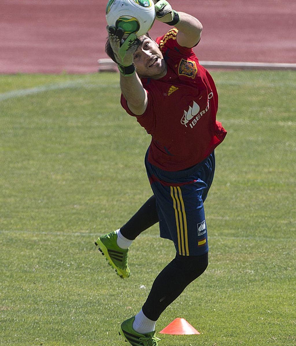 Casillas durante el entrenamiento