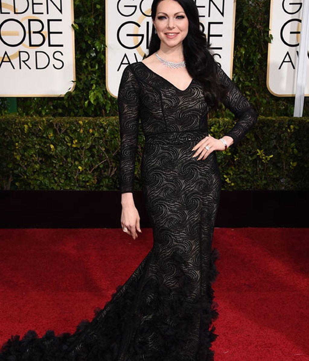 Laura Prepon en la alfombra roja de los Globos de Oro