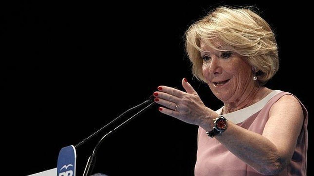 Esperanza Aguirre en un acto electoral en Madrid