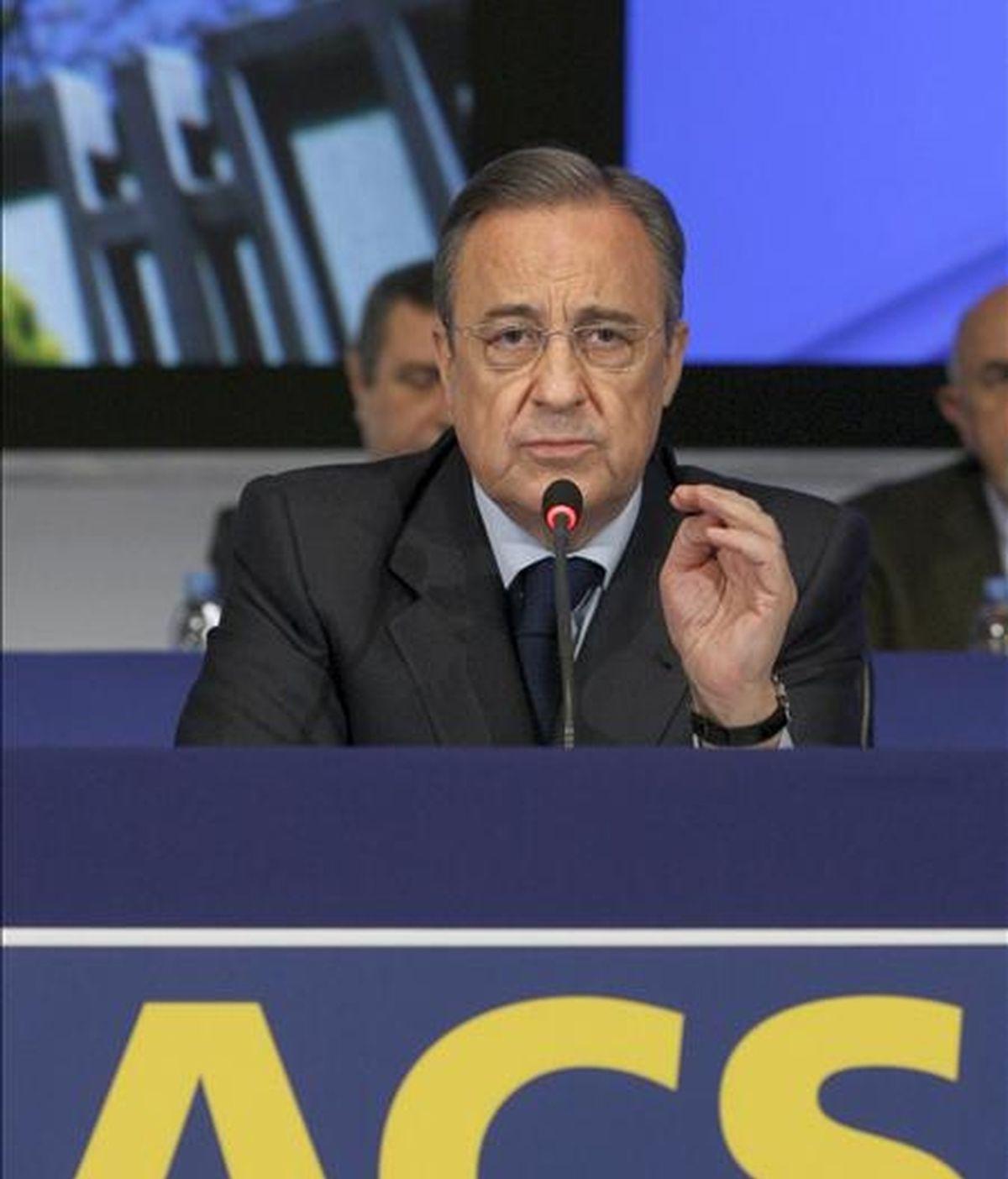 Foto de archivo del presidente de ACS, Florentino Pérez, durante su intervención en la Junta General extraordinaria de accionistas. EFE/Archivo