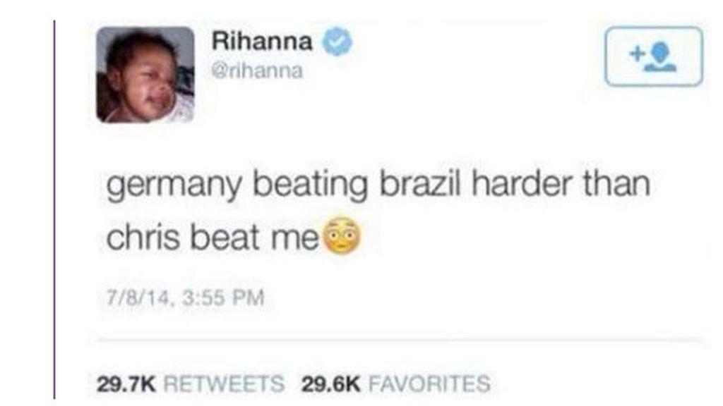 El desafortunado tuit de Rihanna durante el partido entre Brasil y Alemania