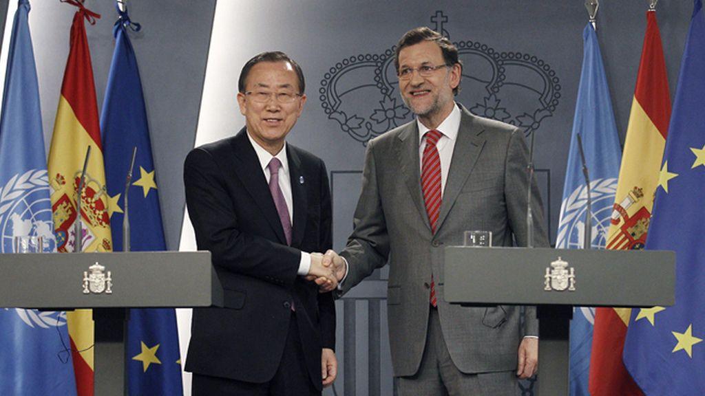 Rueda de prensa de Ban Ki-moon y Rajoy en La Moncloa