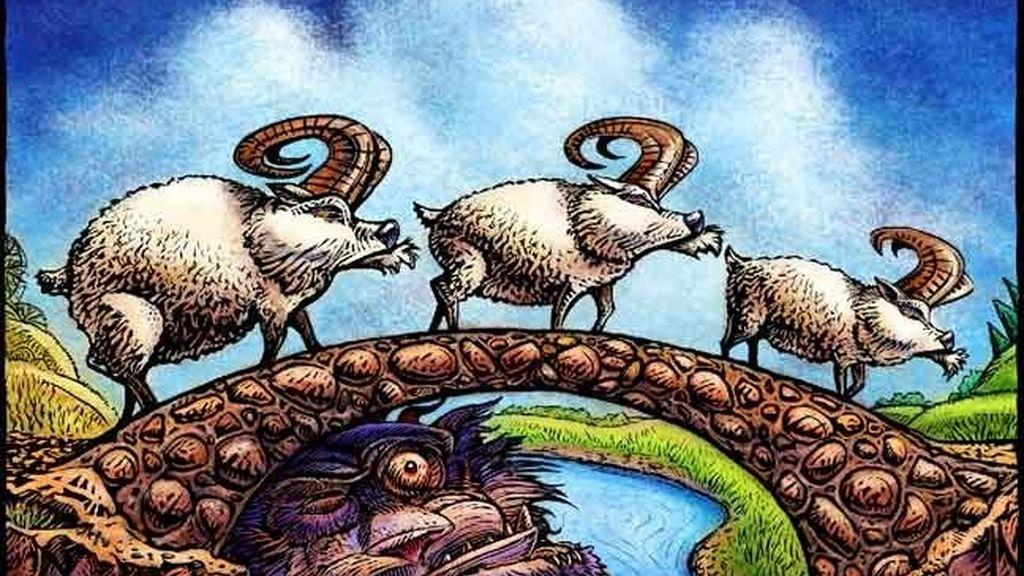 Los tres cabritillos sobre el puente del troll
