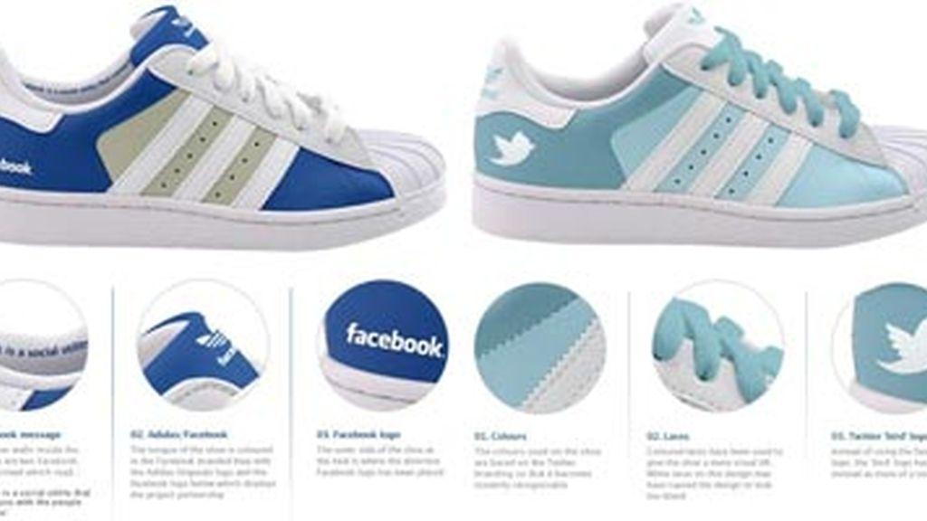 Modelos de las zapatillas Facebook y Twitter