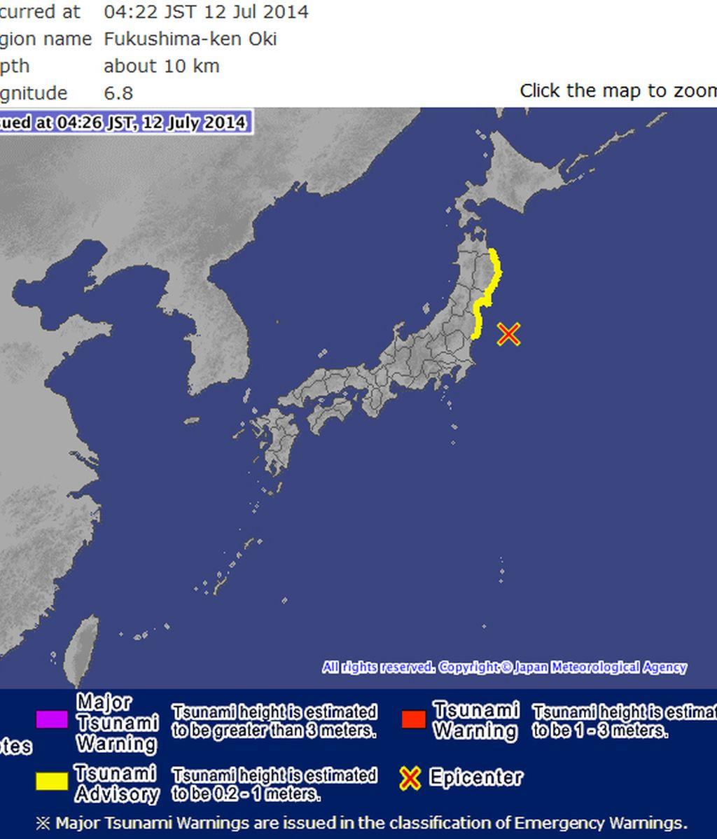 Alerta de tsunami en Japón