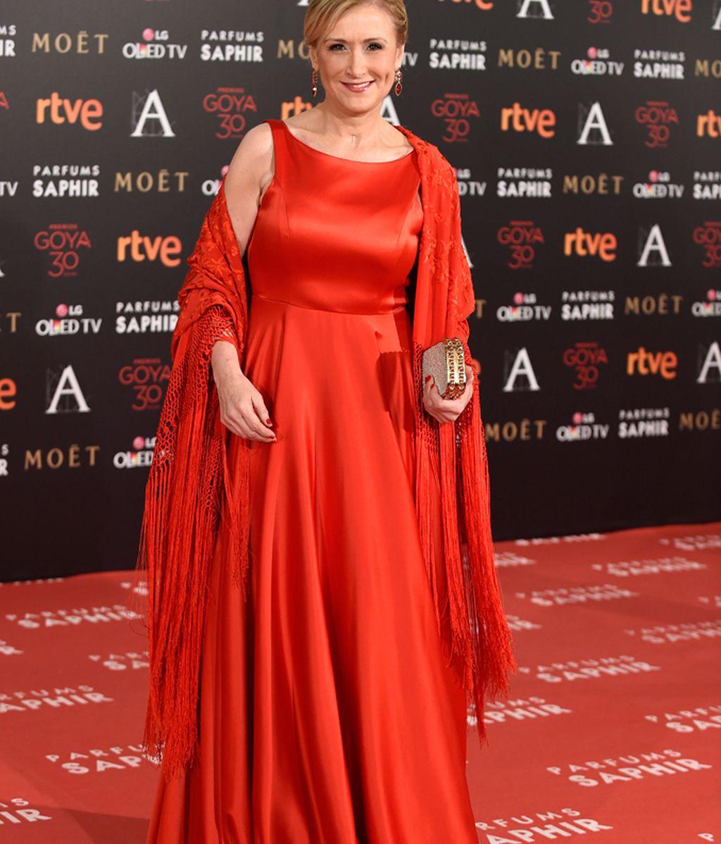 Cristina Cifuentes en la alfombra roja de los Goya