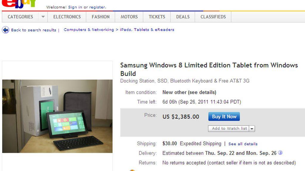 Subastan los prototipos de 'tablets' con Windows 8 por más de 2.000 dólares