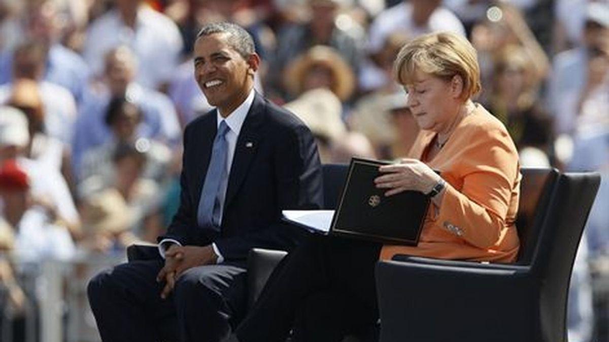 El presidente estadounidense, Barack Obama, y la canciller germana, Angela Merkel