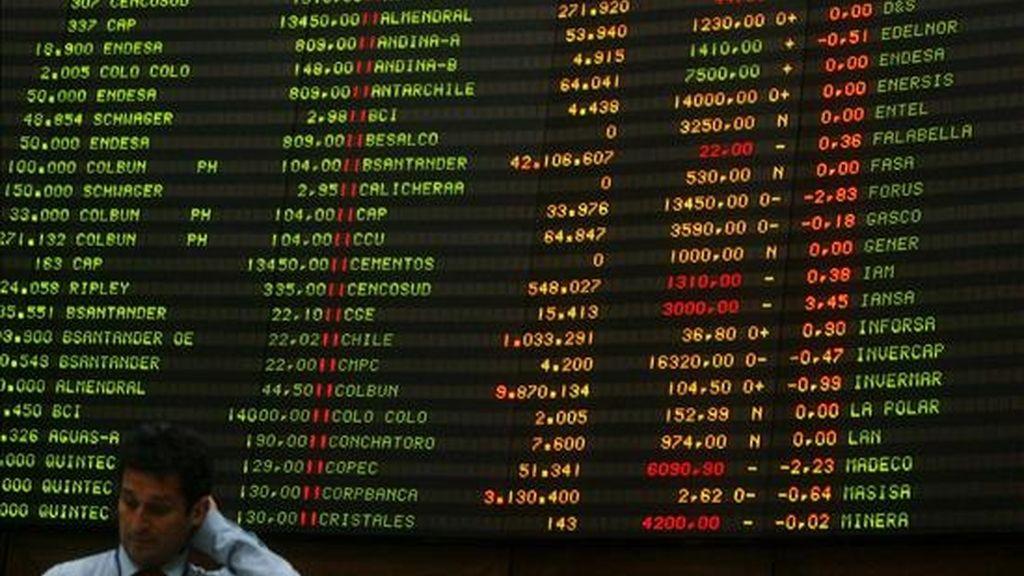 El IPSA de Santiago quedó en 2.641,23 puntos, luego de operaciones por un monto de 68.778.526.179 pesos chilenos (unos 118,58 millones de dólares). EFE/Archivo