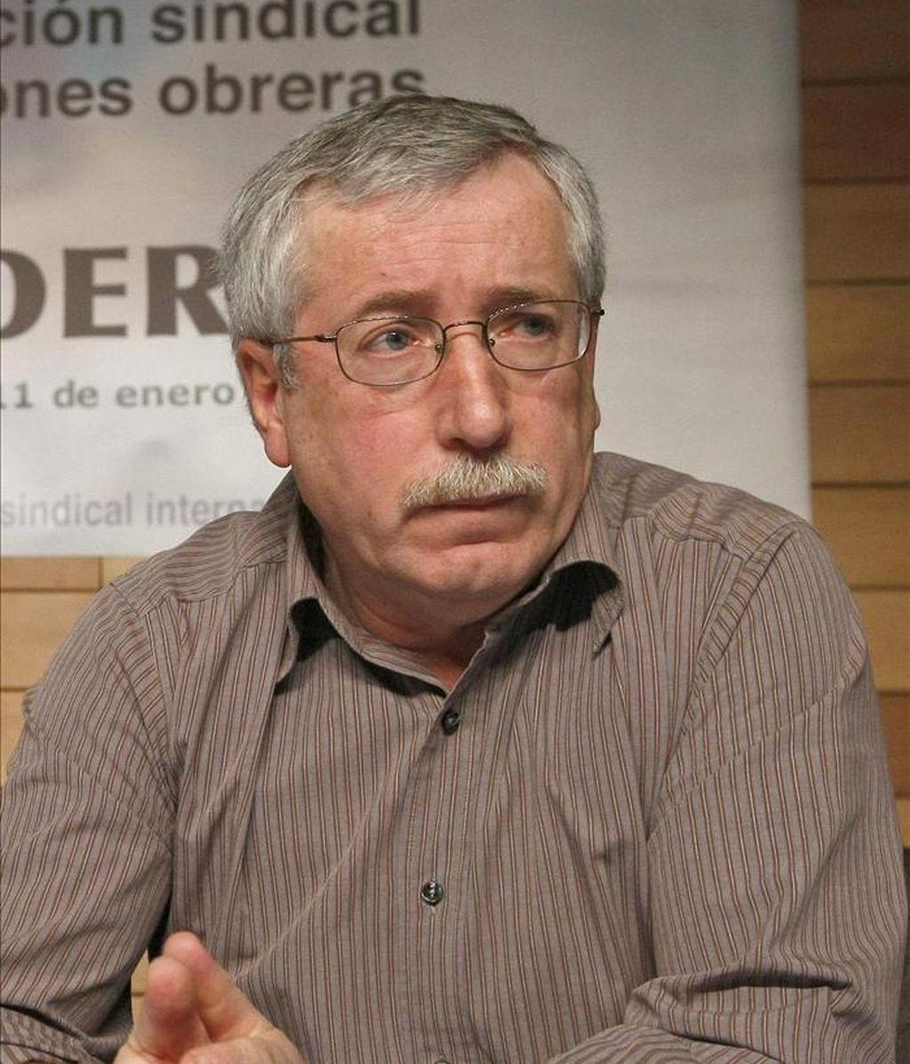 El secretario general de CC.OO, Ignacio Fernández Toxo, durante la reunión que celebró ayer el Consejo Confederal de esta central sindical. EFE
