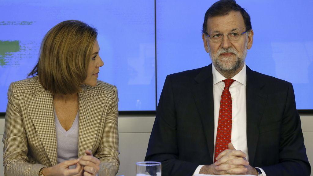 María Dolores de Cospedal y Mariano Rajoy, en Génova