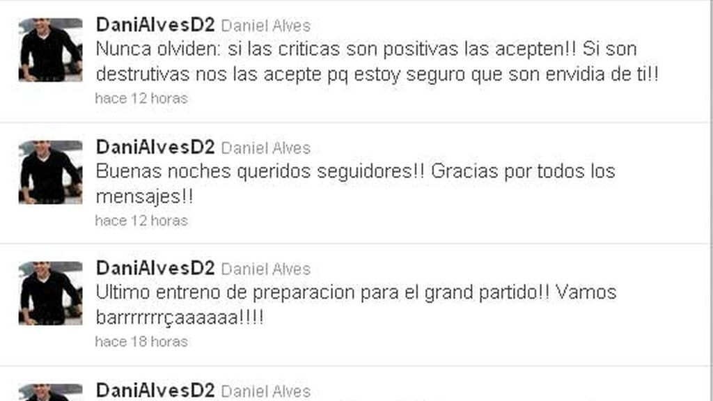 La cuenta oficial de Alves en twitter