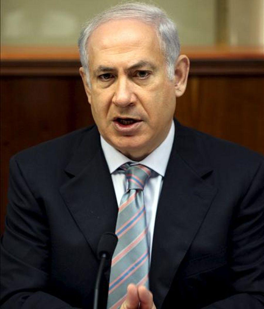 El primer ministro israelí, Benjamin Netanyahu, preside la reunión semanal del gabinete de Gobierno, hoy en Jerusalén (Israel). EFE
