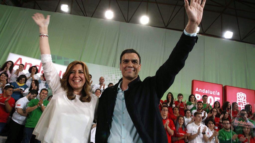 Susana Díaz y Pedro Sánchez en Vícar, Almería