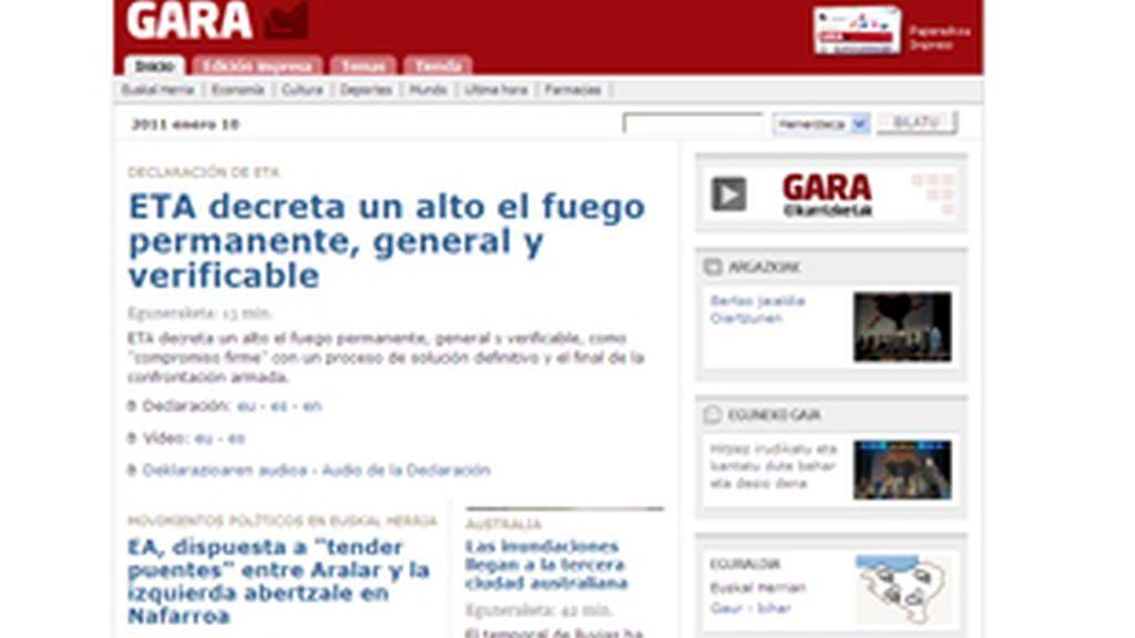 La dirección del diario vasco Gara confirmaba el anuncio de la banda a través de un vídeo publicado en su página web. Vídeo: Informativos Telecinco