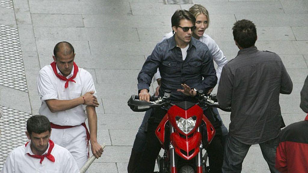 Cameron Díaz y Tom Cruise durante el rodaje de 'Knight & Day' en Cádiz