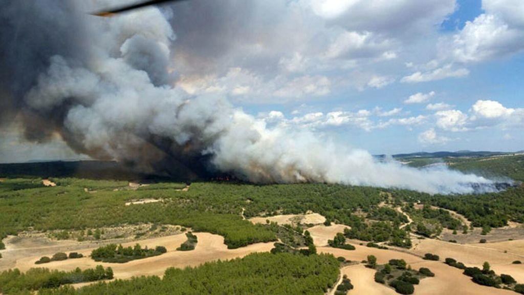 Incendio forestal que se ha declarado en Almansa (Albacete)