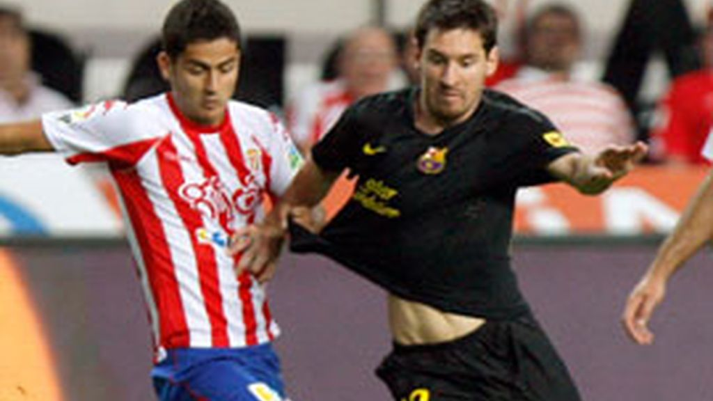 El Sporting de Gijón ha perdido 0-1 ante el Barcelona. Foto: Efe.