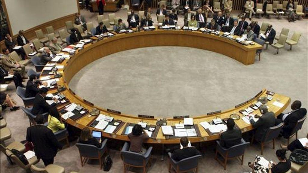 """""""En la próxima semana esperamos finalizarlo, presentarlo y que se vote"""", indicaron fuentes diplomáticas. Vista general del Consejo de Seguridad de la ONU. EFE/Archivo"""