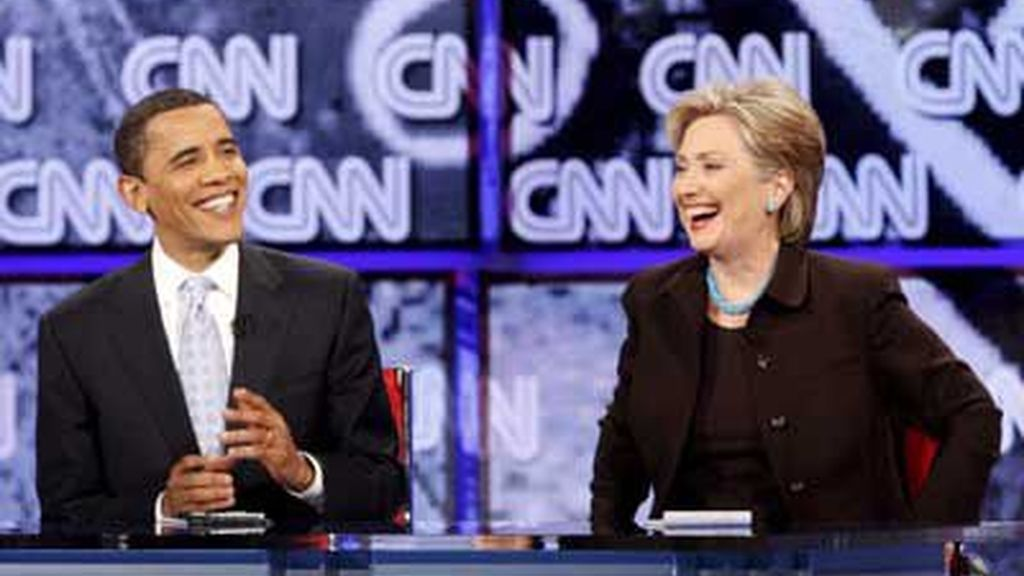 Clinton y Obama en el debate de Los Angeles