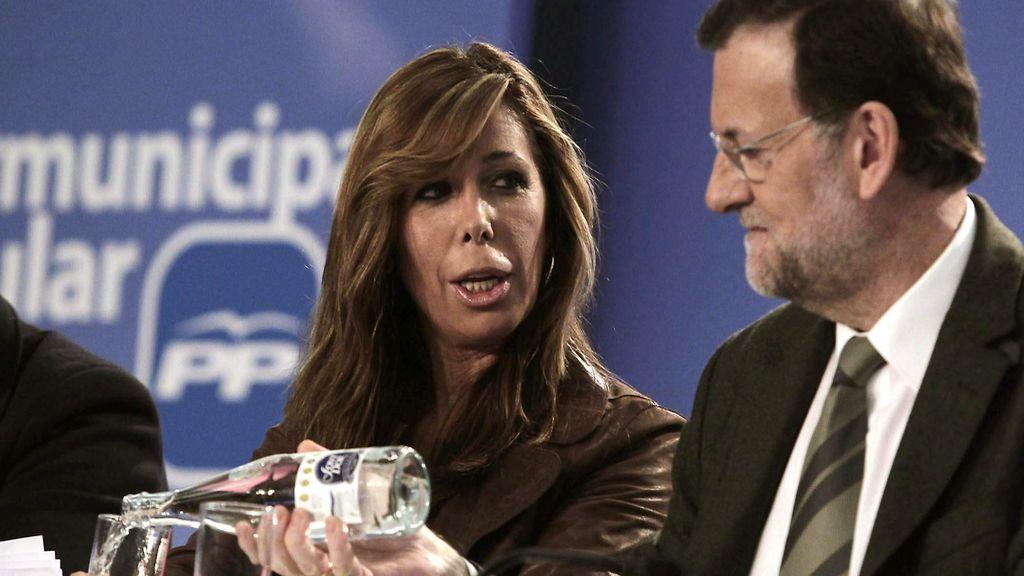 Mariano Rajoy, en Barcelona, junto a la líder el PP catalán, Alicia Sánchez-Camacho. Foto: EFE
