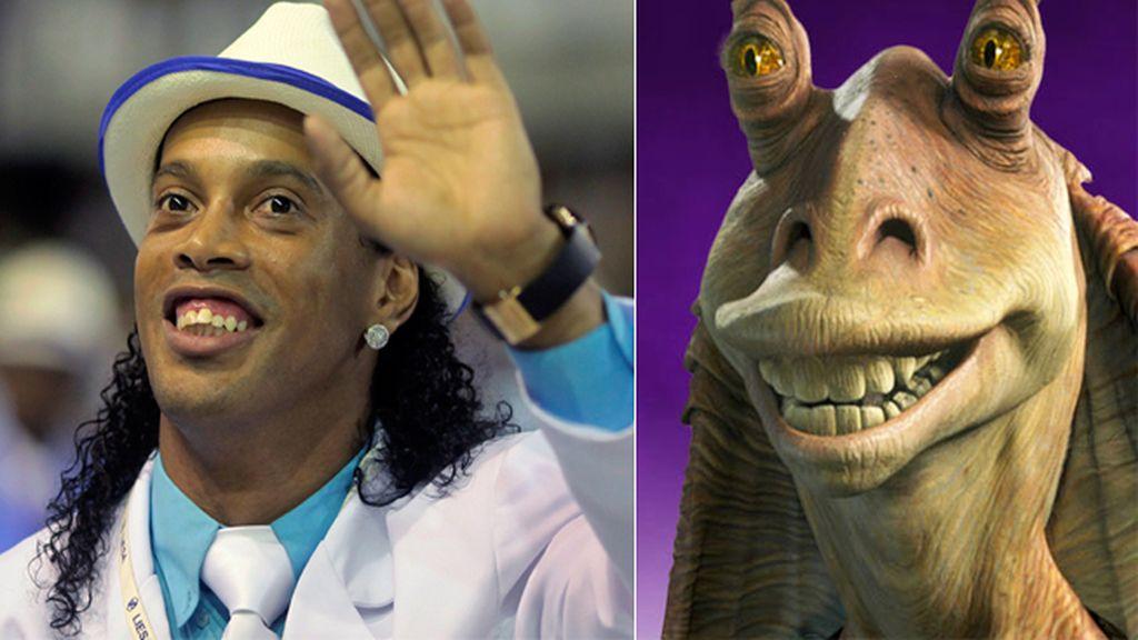 El futbolista Ronaldinho Gaucho y el personaje de Star Wars 'Jar Jar Binks'