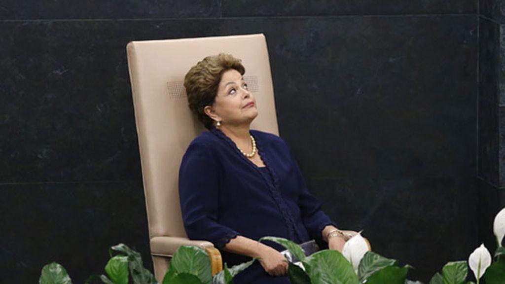 Dilma Rousseff espera su turno para pronunciar su discurso en la ONU