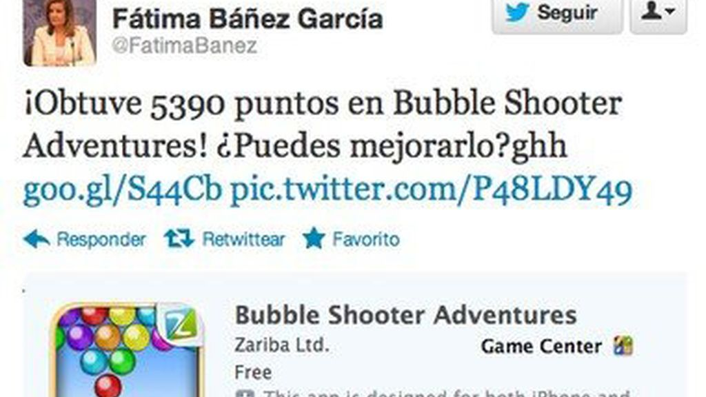 Pillada en Twitter de Fátima Bañez