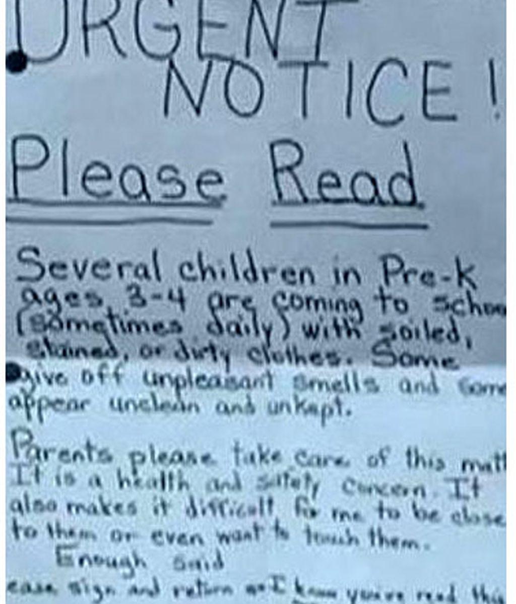 preescolar,niños,sucios,huelen mal,mensaje,maestro,la nota,Nueva York,EEUU