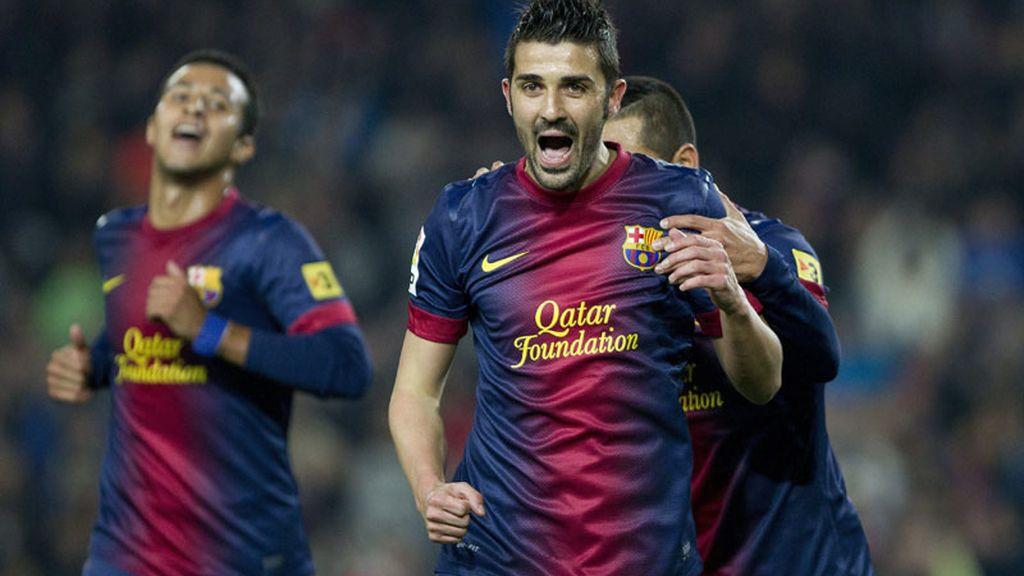 Villa celebra su segundo gol ante el Córdoba