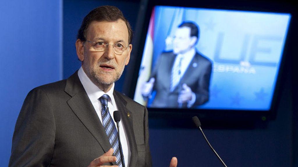 El presidente del Gobierno, Mariano Rajoy, en rueda de prensa tras la Cumbre de Bruselas