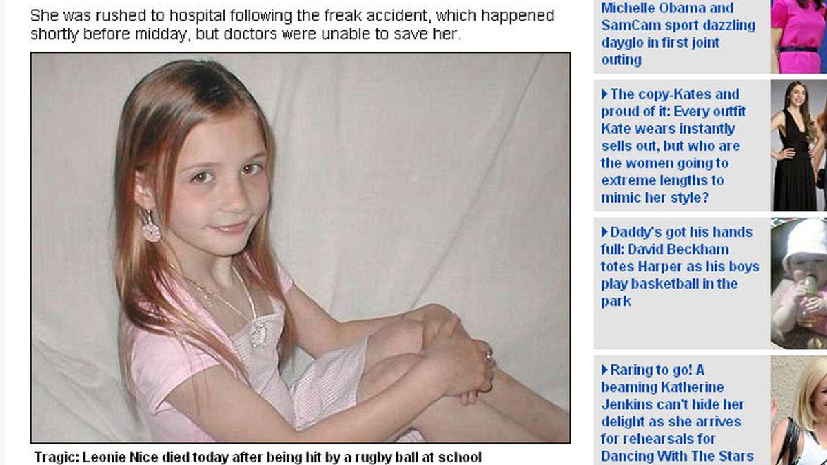 Leonie Nice murió en el patio de su colegio tras recibir un golpe con un balón