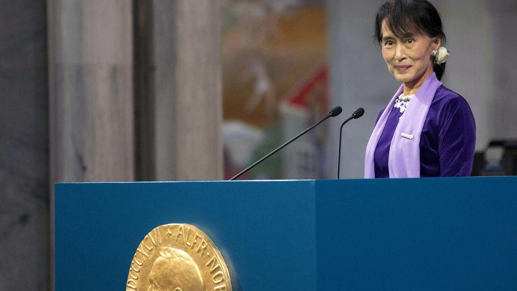 Suu Kyi durante su discurso de aceptación del Nobel de La Paz