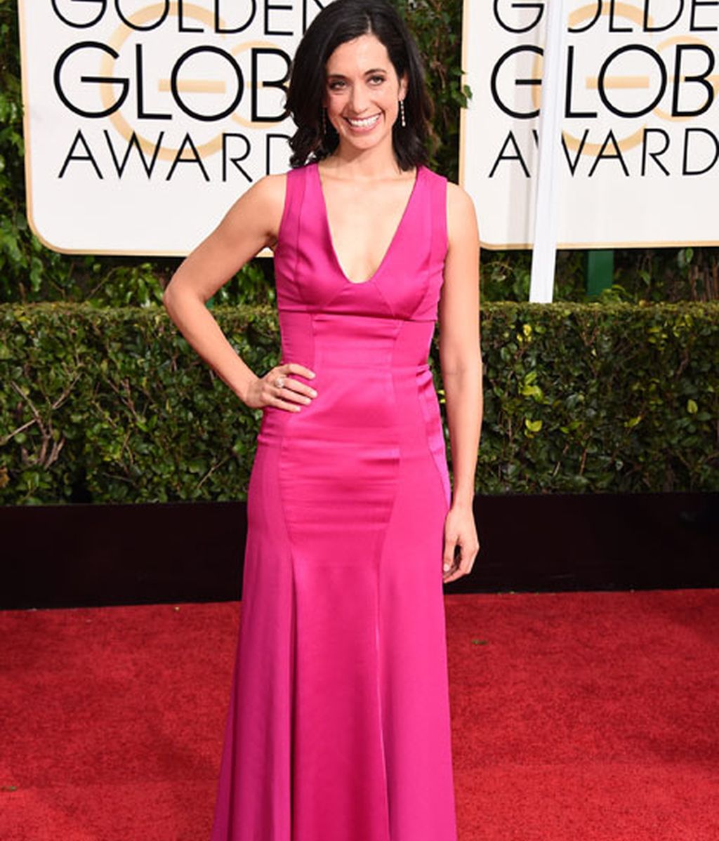Sarah Treem en la alfombra roja de los Globos de Oro
