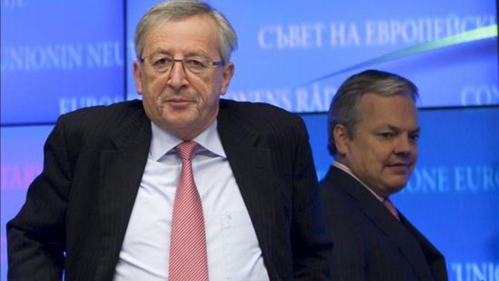 El presidente del Eurogrupo, el luxemburgués Jean-Claude Juncker, a su llegada a una rueda de prensa en la sede del Consejo de Europa en Bruselas (Bélgica). EFE/Archivo