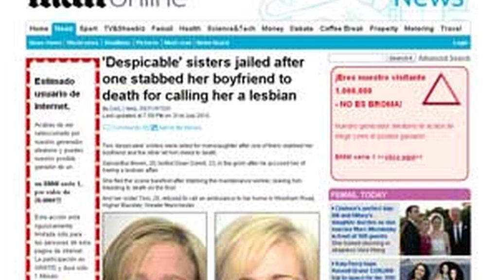 Las hermanas británicas condenadas por la muerte de Dean Darvill. Foto: Dailymail