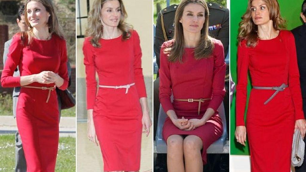 Vestido rojo y cinturón estrecho