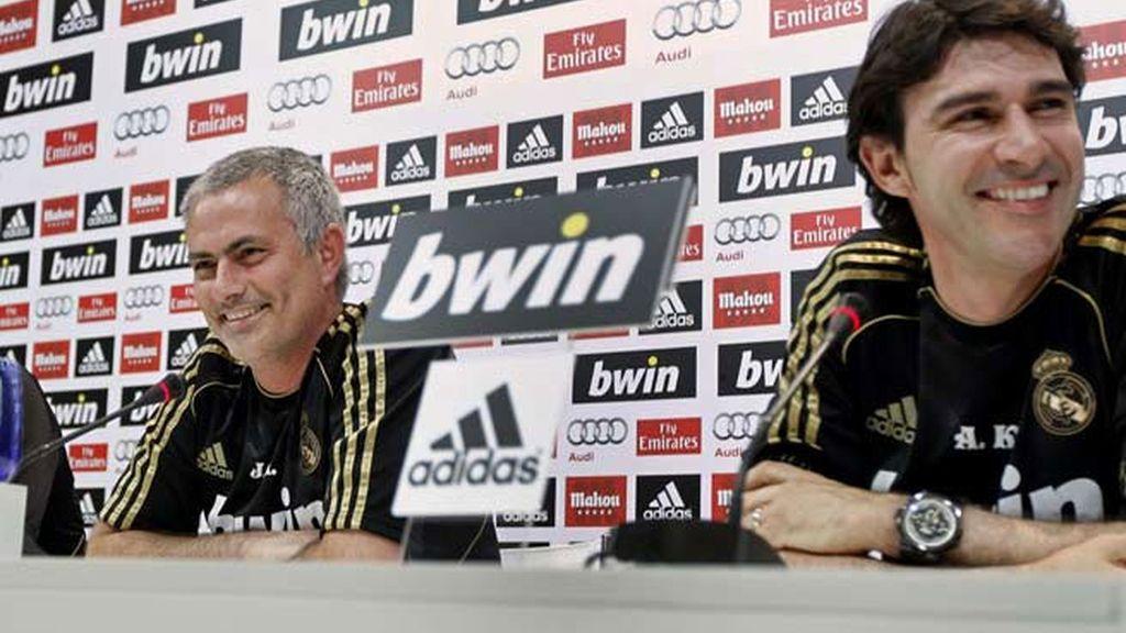 Mourinho y Karanka durante una rueda prensa