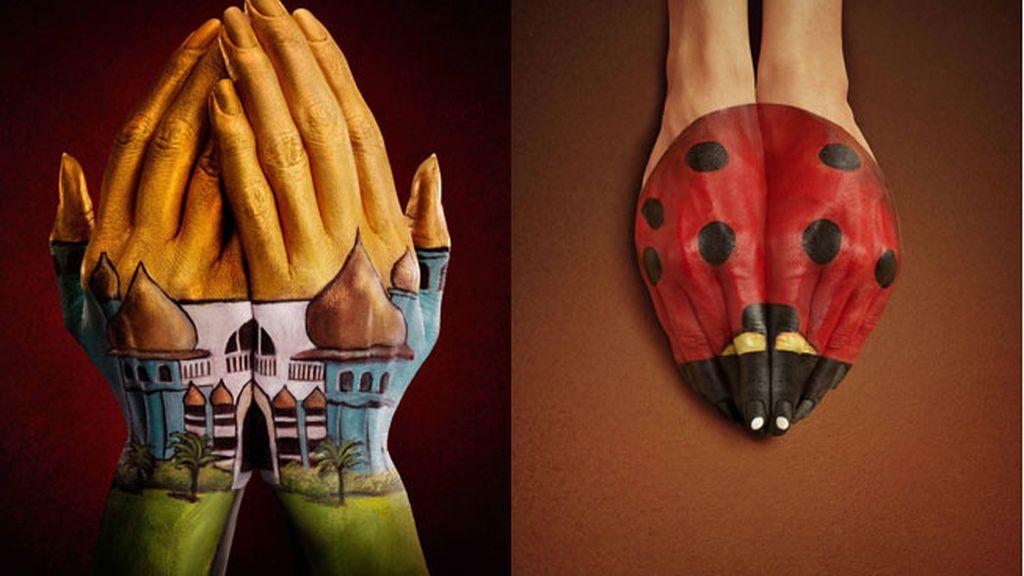 Ilusiones ópticas realizadas sobre manos pintadas